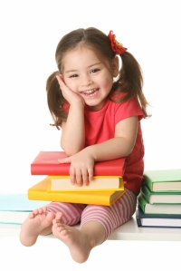 Preschooler with books